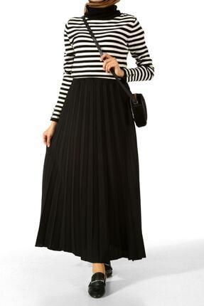 Essah Moda Kadın Siyah Piliseli Uzun Etek Me000134 -