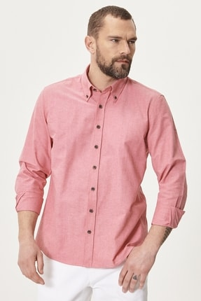 AC&Co / Altınyıldız Classics Erkek Kırmızı Tailored Slim Fit Dar Kesim Düğmeli Yaka Oxford Gömlek