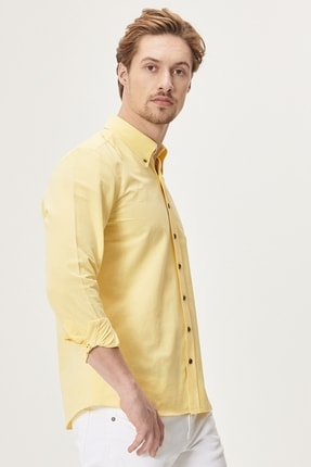 AC&Co / Altınyıldız Classics Erkek Sarı Tailored Slim Fit Dar Kesim Düğmeli Yaka Oxford Gömlek