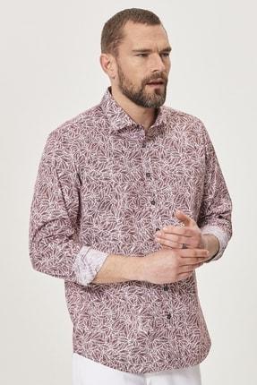 AC&Co / Altınyıldız Classics Erkek Bordo-Beyaz Tailored Slim Fit Dar Kesim Düğmeli Yaka Baskılı Gömlek