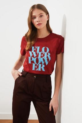 TRENDYOLMİLLA Kiremit Baskılı Basic Örme T-Shirt TWOSS21TS1361