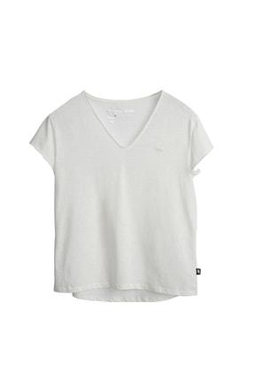 Bad Bear Kadın Kırık Beyaz Tişört Olıvıa V-neck Tee