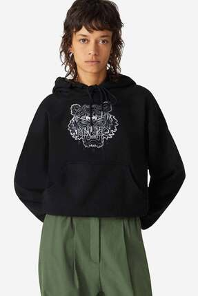Kenzo Kadın Siyah Kaplan Logolu Kapüşonlu Sweatshirt