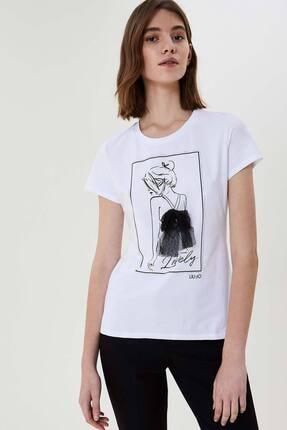 Liu Jo Kadın Beyaz Tül Aksesuarlı Yuvarlak Yaka T-shirt