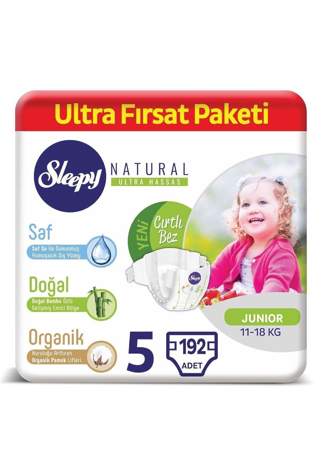 Sleepy Natural Bebek Bezi 5 Numara Junior Ultra Fırsat Paketi 192 Adet 1