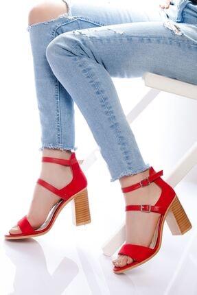 derithy Kadın Kırmızı Süet Klasik Topuklu Ayakkabı