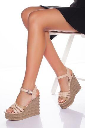 derithy Kadın Bej Dolgu Topuklu Ayakkabı