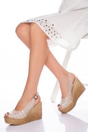 derithy Lewis Dolgu Topuklu Ayakkabı-ten-lzt0535