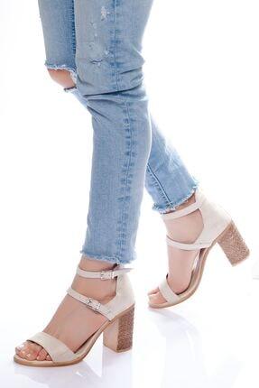 derithy Kadın Ten Süet Klasik Topuklu Ayakkabı