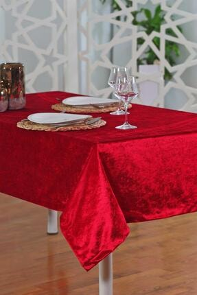 Elart Kadife Kırmızı Masa Örtüsü  135x230