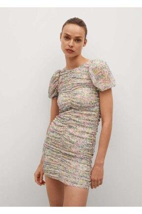 MANGO Woman Büzgülü Çiçekli Elbise