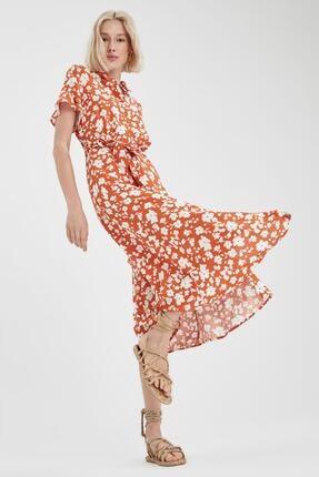 DeFacto Kadın Kahve Volanlı Kol Detaylı Kuşaklı Gömlek Elbise