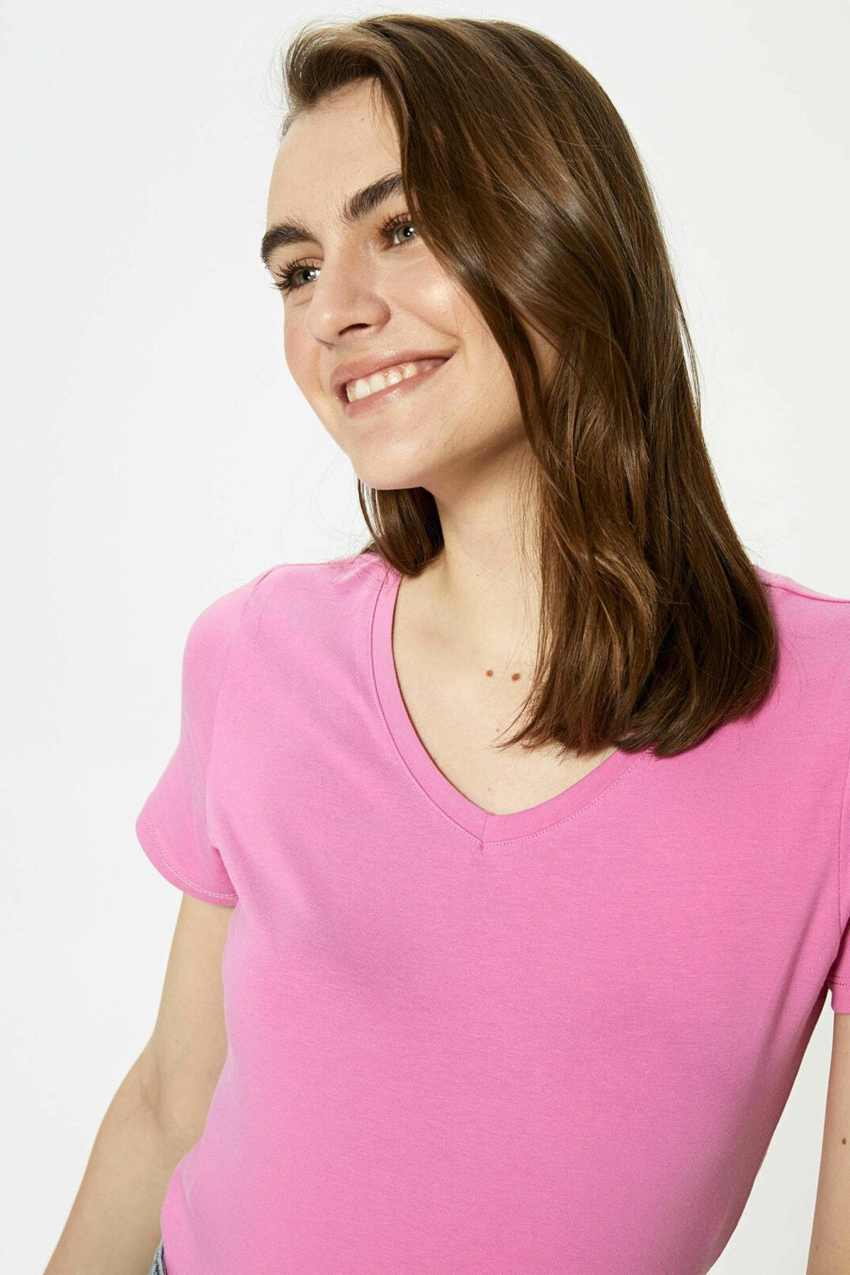 LC Waikiki Kadın Pembe Leylak T-Shirt 2