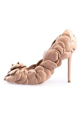 Flower Nude Deri Gül Detaylı Topuklu Ayakkabı