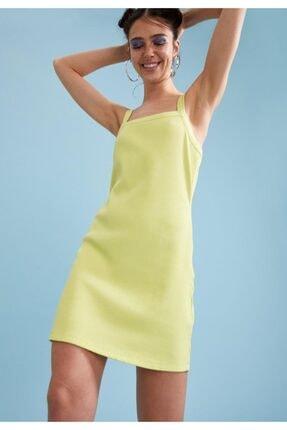 DeFacto Kadın Yeşil Kare Yaka Ayarlanabilir Askılı Örme Elbise