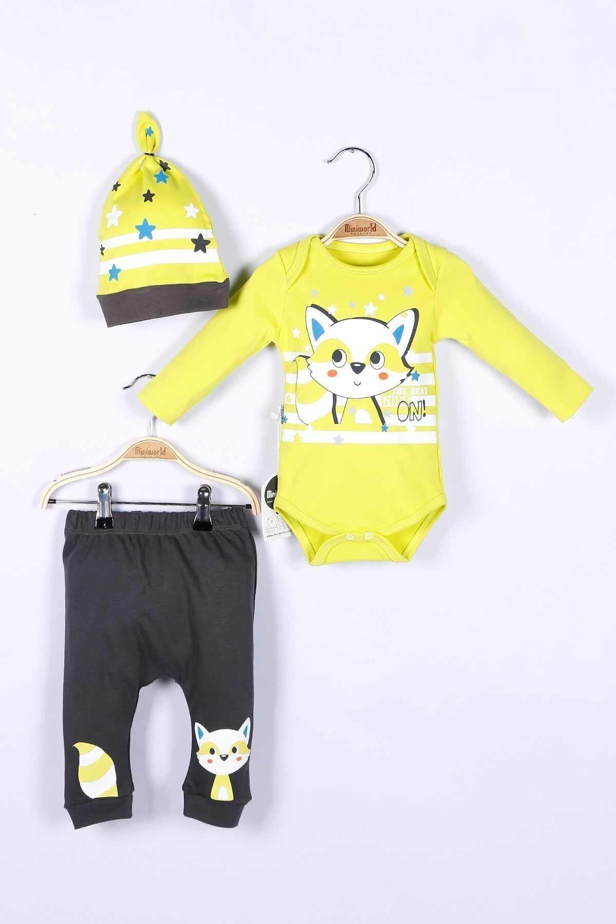 Miniworld Erkek Bebek Badi Pantolon Şapka 3lü Takım 14711 1