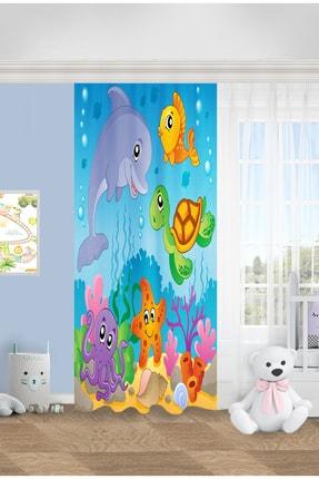 Jungle Kız Çocuk Mavi  Okyanus 140x200 Fon Perde