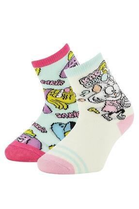 DeFacto Kız Çocuk Pembe Kral Şakir Lisanli Soket Çorap 2 Li