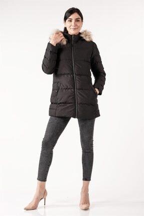 PIQUE Kadın Siyah Kürklü Uzun Şişme Mont