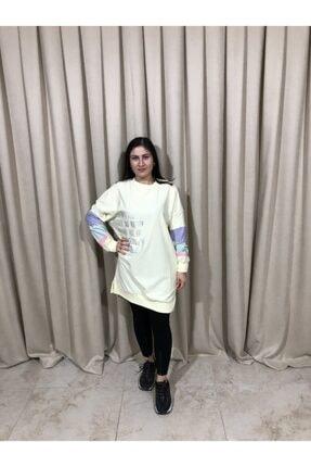 Loreen Kadın Sarı Kol Detaylı Yazılı Sweatshirt