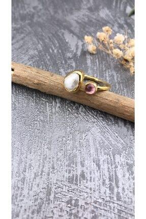 Joel Jewelry Inci Ve Pembe Kuvars Taşlı Altın Kaplamalı Gümüş Yüzük
