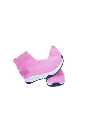 MİRKET Çocuk Unisex Pembe Triko Streç Çorap Spor Ayakkabı Snekaer
