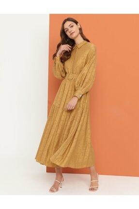 Kayra Dökümlü Elbise Bej B21 23133
