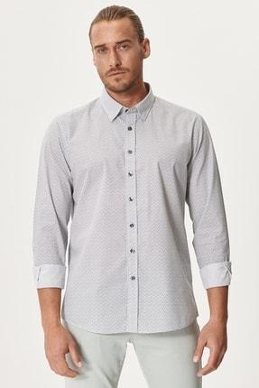 AC&Co / Altınyıldız Classics Erkek Haki Tailored Slim Fit Dar Kesim Düğmeli Yaka Kareli Gömlek