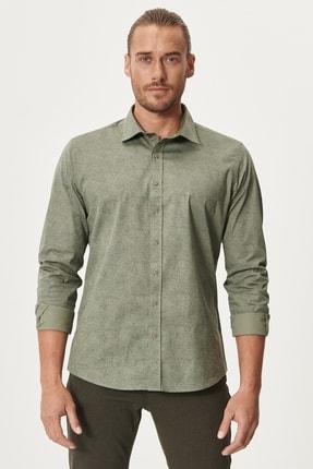 AC&Co / Altınyıldız Classics Erkek HAKI-LACI Tailored Slim Fit Dar Kesim Düğmeli Yaka Baskılı Gömlek
