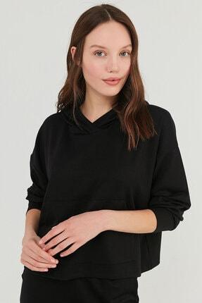 Penti Kadın Siyah Cupro Kapüşonlu Sweatshirt