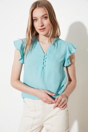 TRENDYOLMİLLA Mint Düğme Detaylı Bluz TWOSS20BZ0894