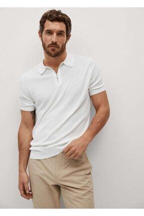 MANGO Man Erkek Fermuarlı Dökümlü T-Shirt