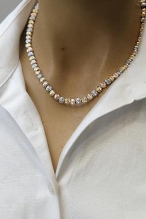 Marjin Kadın Dorika Taşlı Altın&rose&gümüş Renkli Kolye