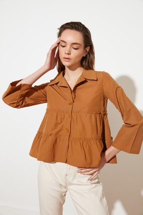 TRENDYOLMİLLA Camel Büzgülü Gömlek TWOSS21GO0156