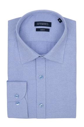 Hatemoğlu Erkek Mavi Slim Fit Spor Gömlek