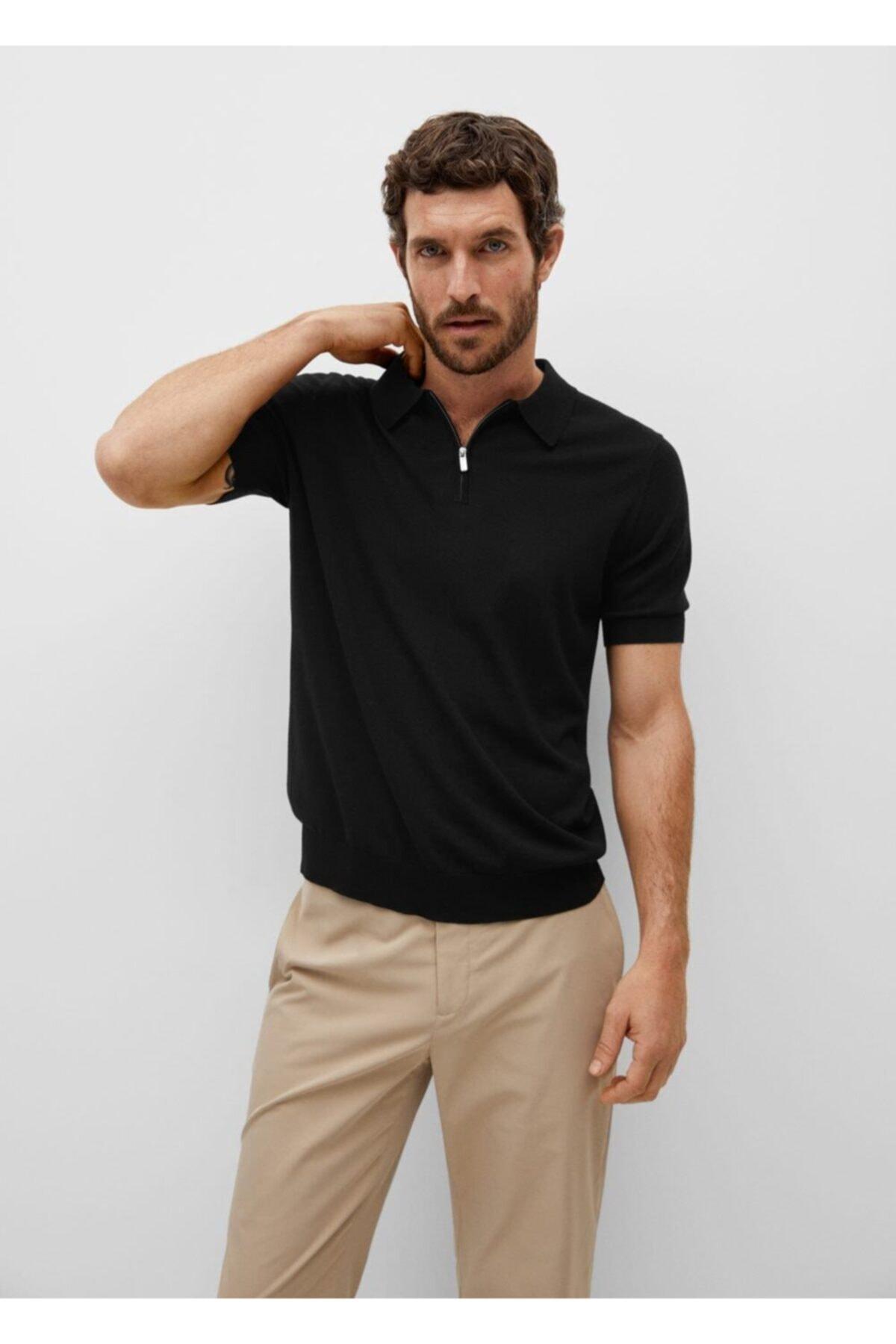 MANGO Man Fermuarlı Dökümlü Polo Gömlek 1