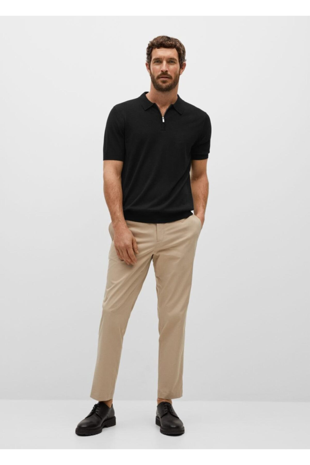 MANGO Man Fermuarlı Dökümlü Polo Gömlek 2