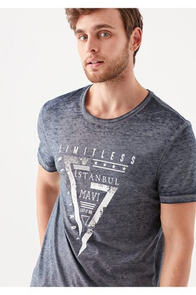 Mavi Limitless  İstanbul Baskılı Lacivert Tişört