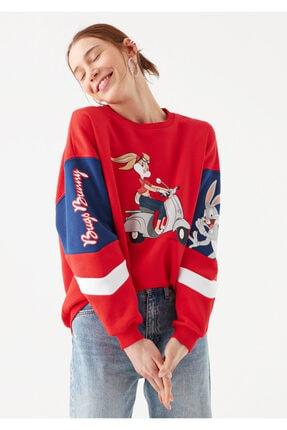 Mavi Kadın Kırmızı Bugs Bunny Baskılı Sweatshirt