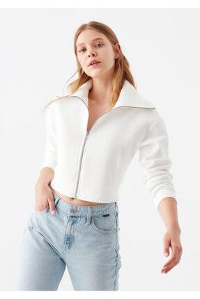 Mavi Kadın Fermuarlı Beyaz Sweatshirt 168578-32158
