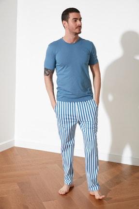 TRENDYOL MAN Mavi Çizgili Örme Pijama Takımı THMSS21PT0317