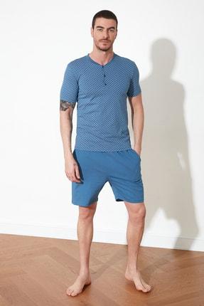 TRENDYOL MAN Mavi Baskılı Örme Pijama Takımı THMSS21PT0333