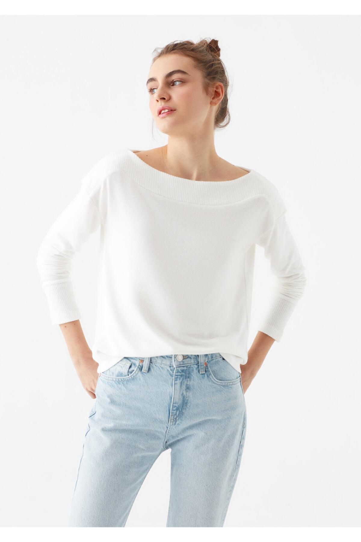 Mavi Kadın Yumuşak Dokulu Uzun Kollu Beyaz Tişört 1600573-33389 1