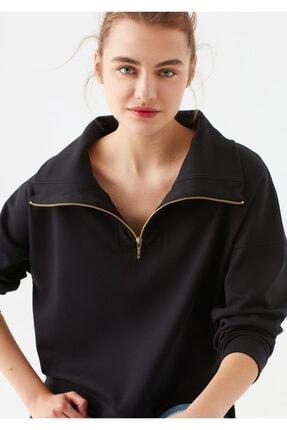 Mavi Dik Yaka Siyah Sweatshirt