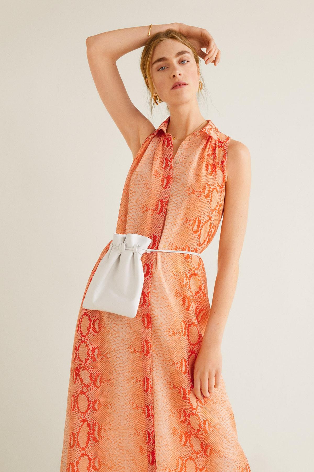 MANGO Woman Kadın Parlak Turuncu Elbise 41037807 2