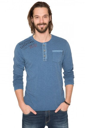 Camp David Erkek Mavi Uzun Kol T-shirt
