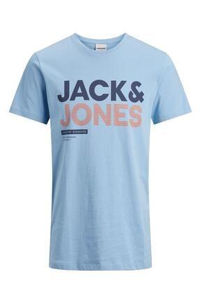 Jack & Jones Unisex Mavi Standard Yazılı T-shirt 12184829 Industry