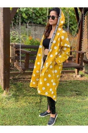 N32 Kadın Sarı  Puantiye Desenli Pardesü