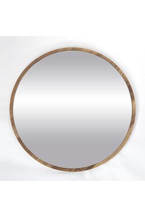 bluecape Yuvarlak Ceviz Duvar Salon Ofis Aynası 45 cm