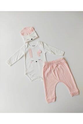 Miniworld Kız Bebek Uyuyan Tavşan Badili 3 Lü Takım %100 Pamuk
